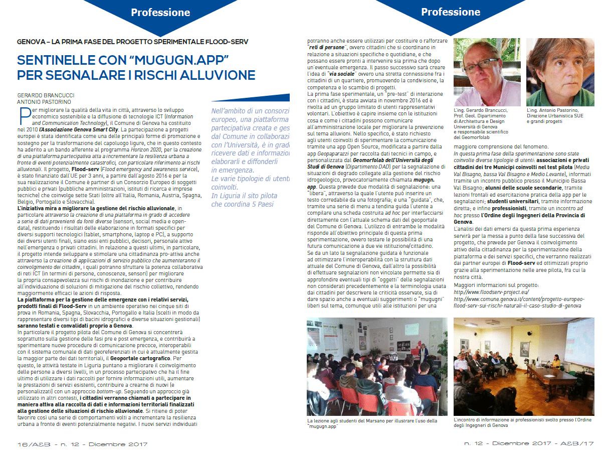 "Article featured in periodical paper of the ""Ordine degli Ingegneri di Genova"""